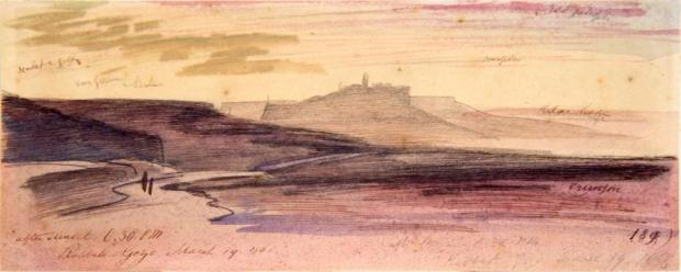 Painting of Gozo by edward lear